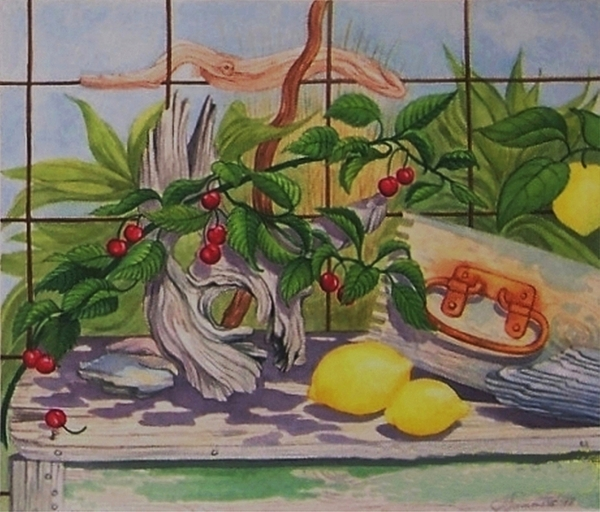 Realism Watercolor Nature Antiques Lemons Cheries Painting - Penelope by Janet Summers-Tembeli