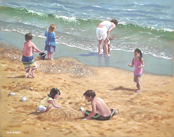 Bournemouth Painting - people on Bournemouth beach kids in sand by Martin Davey