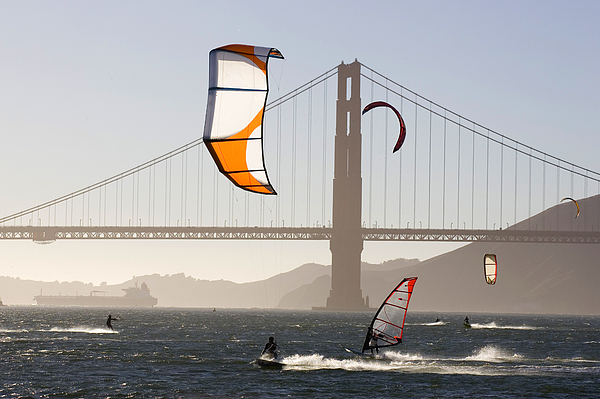 Lifestyles Photograph - People Wind Surfing And Kitebording by Skip Brown