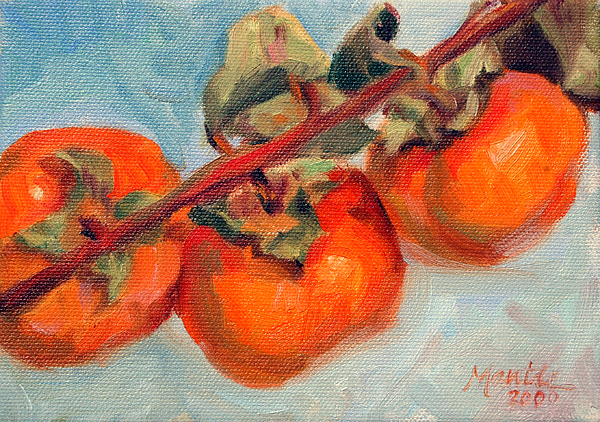 Fruit Painting - Persimmons by Athena  Mantle