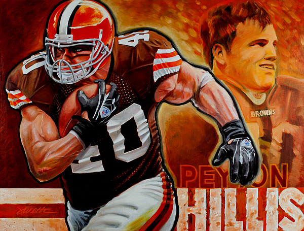 Football Painting - Peyton Hillis by Jim Wetherington