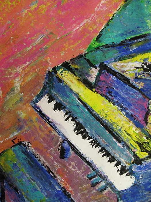 Music Painting - Piano With Yellow by Anita Burgermeister