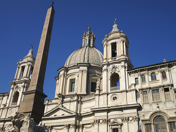 Worthyness Egyptian Photograph - Piazza Navona. Navona Place. Church St. Angnese In Agona And Egyptian Obelisk. Rome by Bernard Jaubert