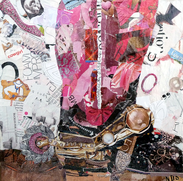 Torn Paper Collage Painting - Pink Boot 2 by Suzy Pal Powell