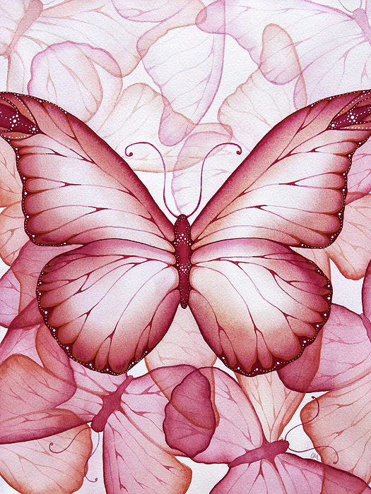 Pink Painting - Pink Butterflies by Christina Meeusen