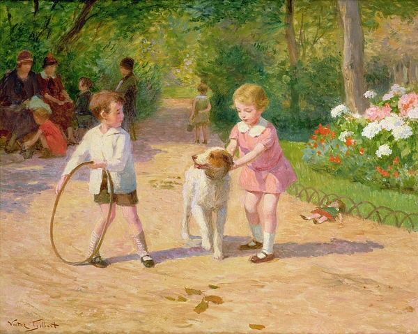 Playing Painting - Playing With The Hoop by Victor Gabriel Gilbert