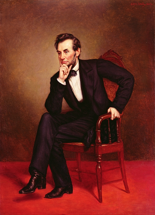 Portrait Of Abraham Lincoln (oil On Canvas) By George Peter Alexander Healy (1808-94) Painting - Portrait Of Abraham Lincoln by George Peter Alexander Healy