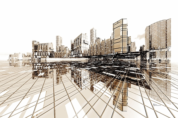 Abstractly Digital Art - Poster-city 4 by Max Steinwald