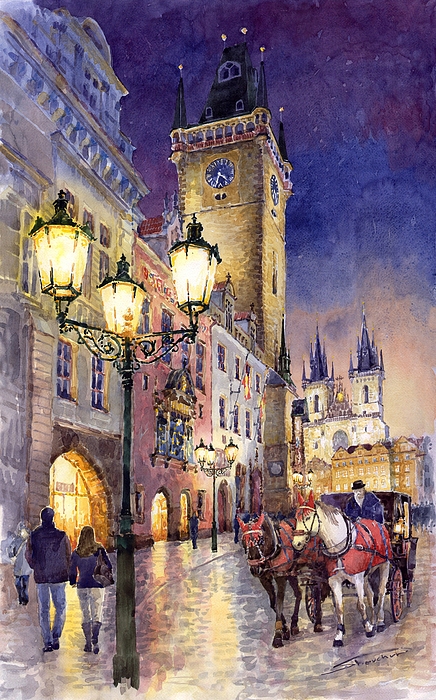 Cityscape Painting - Prague Old Town Square 3 by Yuriy  Shevchuk