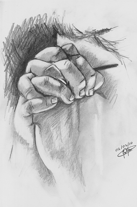 Praying Hands Drawing by Jason Yaw