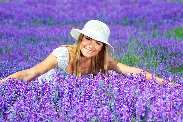 Background Photograph - Pretty Woman On Lavender Field by Anna Omelchenko