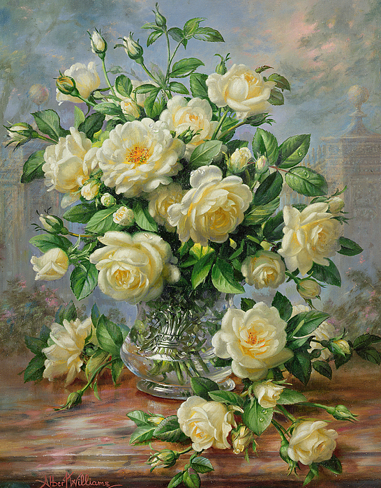 Princess Diana Roses In A Cut Glass Vase Painting