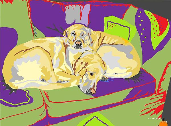 Labradors Digital Art - Puppy Pile Of Two by Su Humphrey