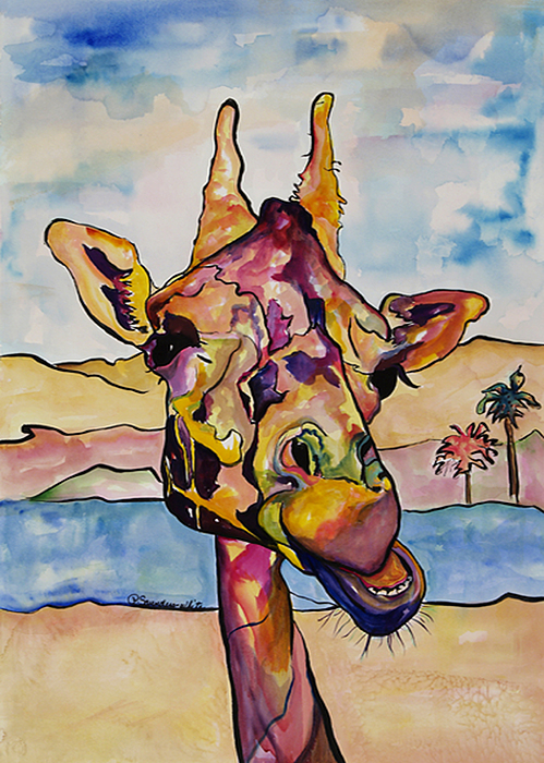 Giraffe Painting - Puzzles by Pat Saunders-White
