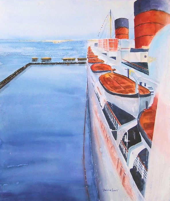 Queen Mary Painting - Queen Mary From The Bridge by Debbie Lewis