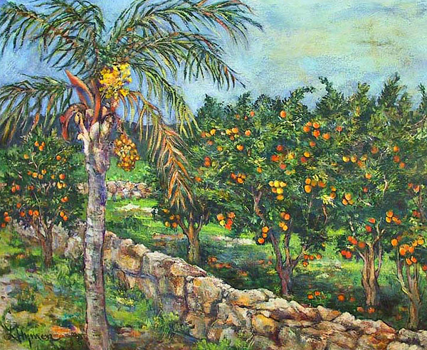 Trees Painting - Queen Palm And Oranges by Lily Hymen