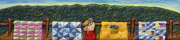 Mother Daughter Mixed Media - Quilted Harvest by Anne Klar