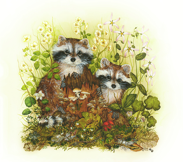 Raccoons Painting - Raccoons  by Donna Genovese