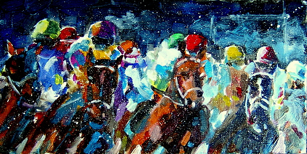 Horses Painting - Racers Out Of The Gate by Bob Snider