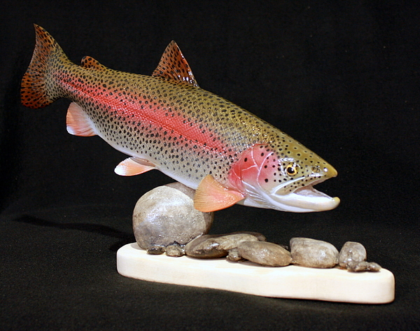Salmon Sculpture - Rainbow Trout On The Rocks by Eric Knowlton