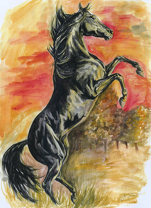 Horse Painting - Rearing by Jana Goode