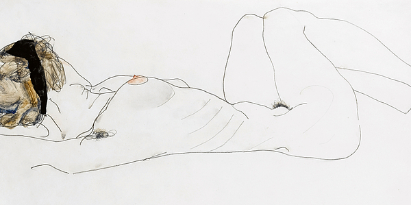 Nude Drawing - Reclining Female Nude by Egon Schiele