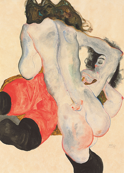 Nude Painting - Reclining Woman In Red Trousers And Standing Female Nude by Egon Schiele