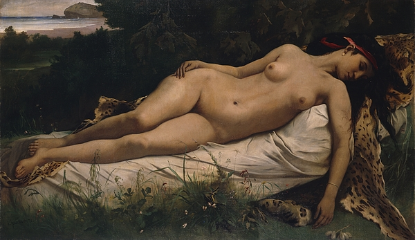 Recumbent Painting - Recumbent Nymph by Anselm Feuerbach
