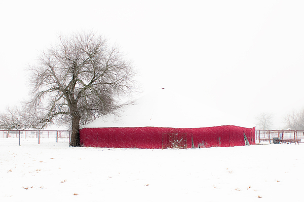 Nature Photograph - Red Barn In Winter by Tamyra Ayles