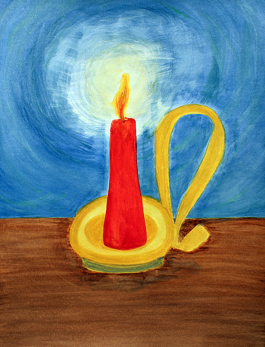 Red candle lighting up the dark blue night painting by for Candle painting medium