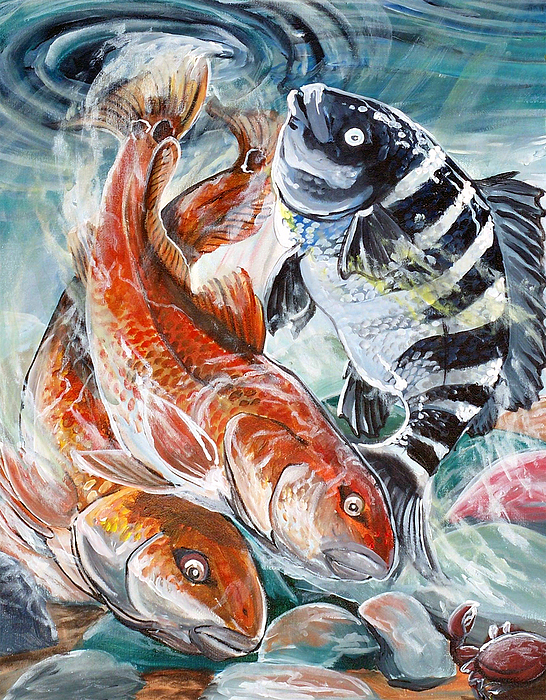 Red Drum Painting - Red Drums And A Sheephead by Jenn Cunningham