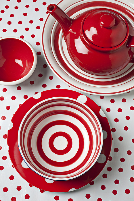 Red White Teapot Bowl Photograph - Red Teapot by Garry Gay