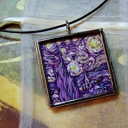 Landscape Painting - Rendition Of Starry Night In Amethyst by Dana Marie