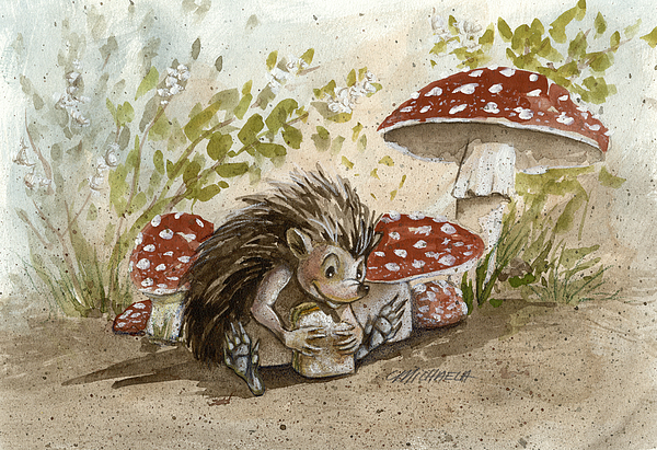 Hedgehog Painting - Rest Stop by Michaela Eaves