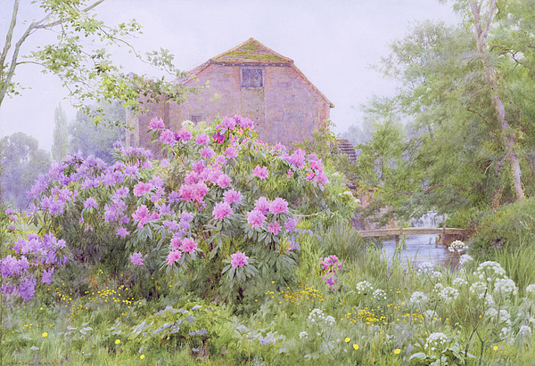 Rhododendrons By A Watermill Painting