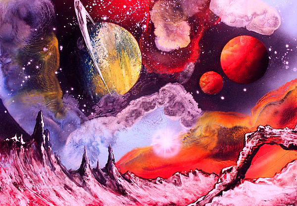 Space Art Painting - Rising Star  by Tony Vegas