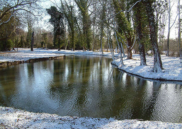 Backgrounds Photograph - River Cherwell Meandering Through Christ Church Meadows Oxford Uk. by Mike Lester
