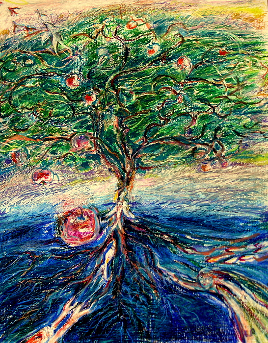 Tree Of Life; Spiritual; Living Water; Meditation; Contemplation Drawings; Whimsical Drawings Drawing - River Tree by Laurie Parker