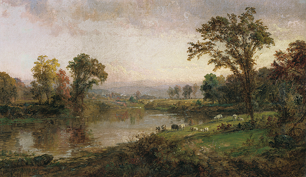 Riverscape In Early Autumn Painting
