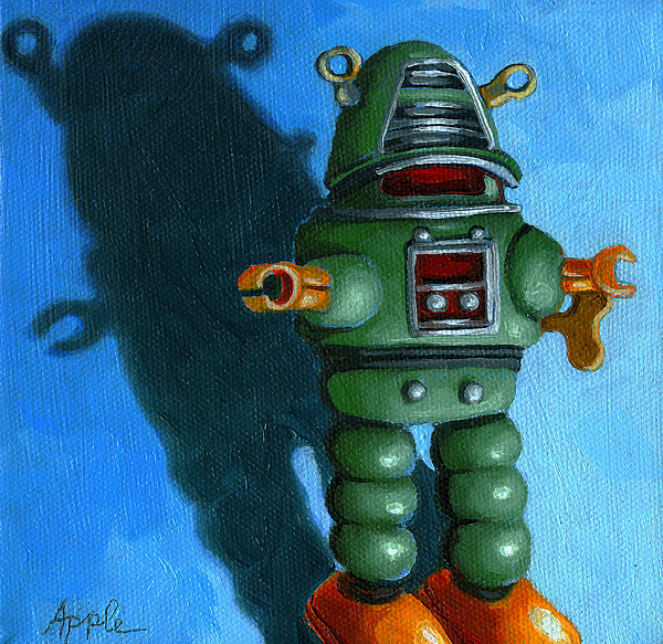 Painting Painting - Robot Dream - Realism Still Life Painting by Linda Apple