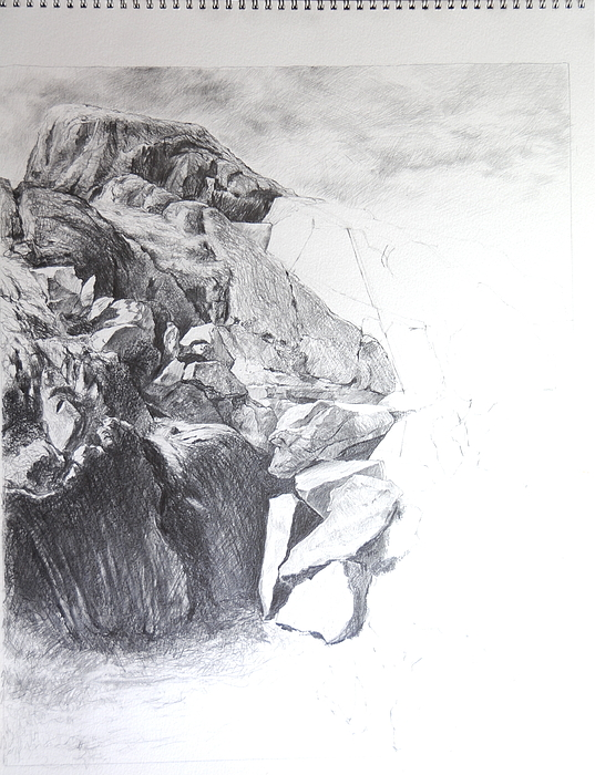 Landscape Drawing - Rocky Outcrop In Snowdonia. by Harry Robertson