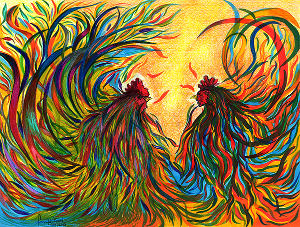 Roosters Painting - Roosters Frienship by Fanny Diaz