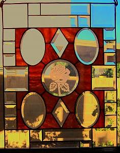 Stained Glass Window With A Rose Etched In The Middle Circle Glass Art - Rose by Arnold Quentin