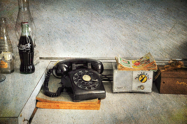 Rotary Dial Phone In Black S And H Stamps Photograph