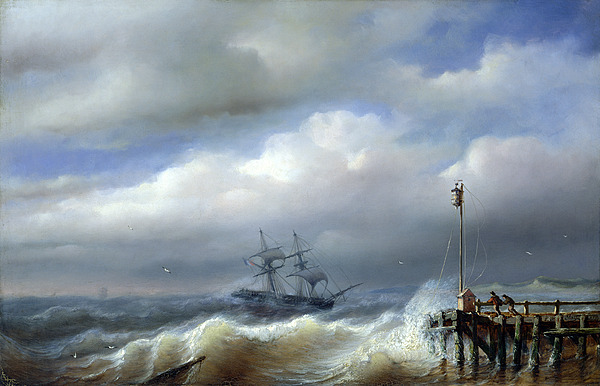 Rough Painting - Rough Sea In Stormy Weather by Paul Jean Clays