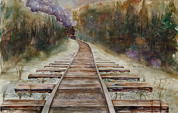 Train Painting - round The Bend by Renee Chastant