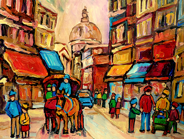 Montreal Painting - Rue St. Paul Old Montreal Streetscene by Carole Spandau