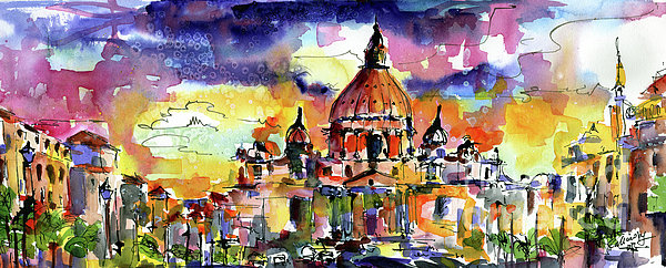 Italy Painting - Saint Peter Basilica Rome Italy by Ginette Callaway