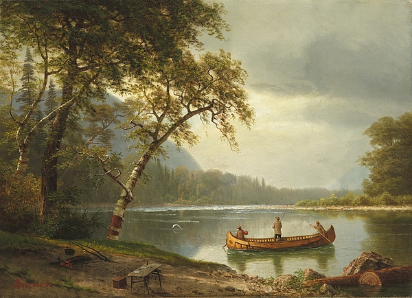 Landscape; Rural; Countryside; Canadian; Fishermen; Boat; Leisure; Calm; Peaceful; Kayak; Camp; Campfire; Fire; Kettle; Scenic; Riverbank Painting - Salmon Fishing On The Caspapediac River by Albert Bierstadt