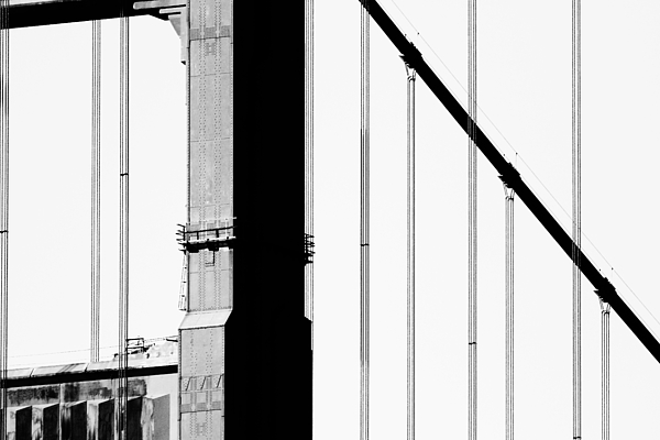 San Francisco Golden Gate Bridge . Black And White Photograph . 7d7954 Photograph